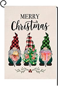 Christmas Gnomes Garden Flag 12.5x18 Vertical Double Sided Christmas Tree Farmhouse Porch Decorations Outdoor Small Yard Flag