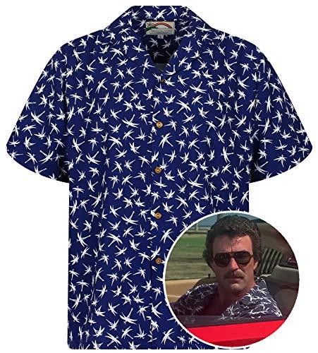 Original Hawaiian Shirt, Tom Selleck, Dragonfly, Blue, XL