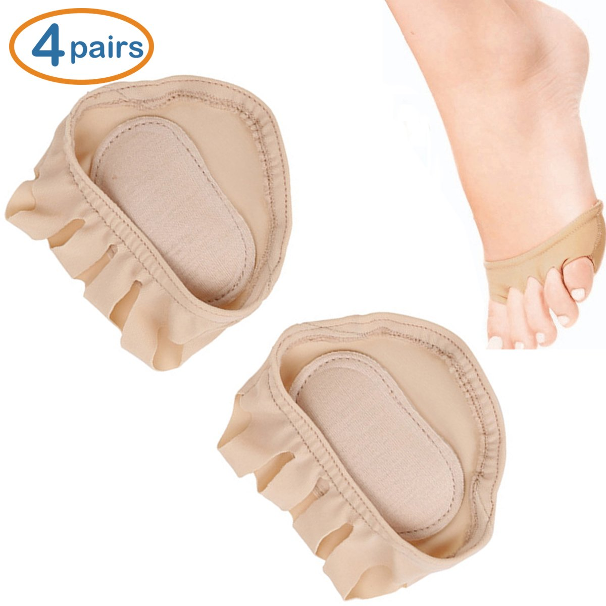 LOHOME® Forefoot Pads, Women's High-heeled Fore Foot Cushion Sole Protectors Toe Caps Covers Pads Toe Separating Socks – Skin Color (4 Pairs)