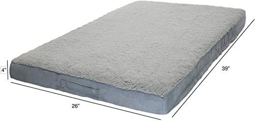 Pawmona Rectangular Dog Bed with Orthopedic Memory Foam Grey Blue for Large Medium Dogs Ideal for Older and Joint Suffering Dogs European Quality 12935
