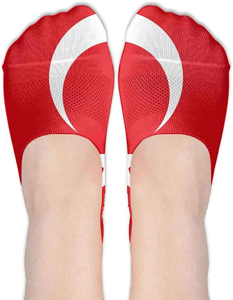 YISHOW Lovely Turkey Country Flag No-Show Socks Casual Anti Slip Low Cut Crew Boat Sock Hidden Flat Line