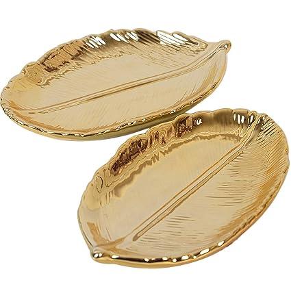 689d3c800756 TOPBATHY 2 unids Forma de Hoja de Oro Anillo Decorativo Plato Plato ...