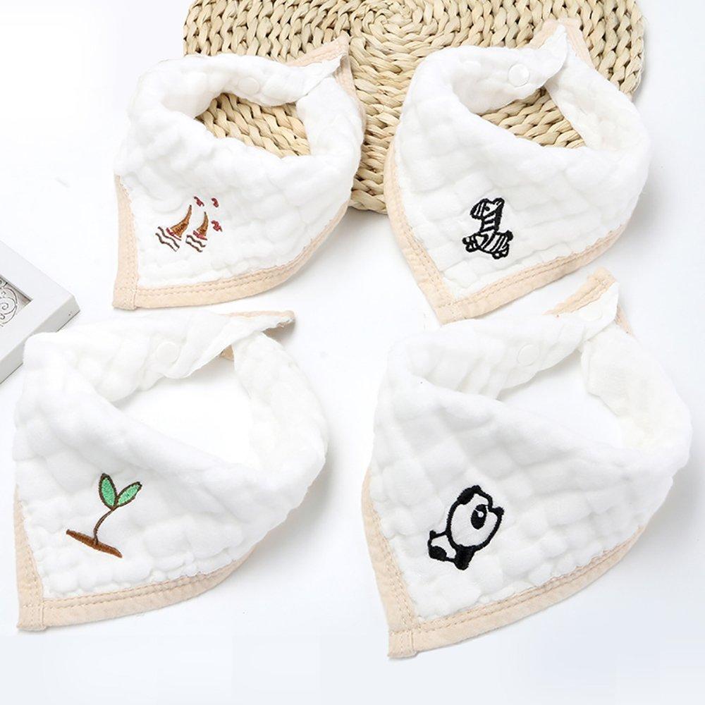 Sinland Cotton Baby Bandana Drool Bibs Muslin Warm Baby Burp Cloths Embroidery with Adjustable Snaps bbsbsjj272748setx4