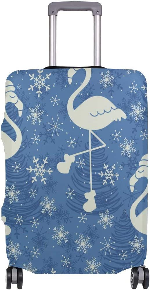 FOLPPLY Christmas Blue Snowflake Flamingo Luggage Cover Baggage Suitcase Travel Protector Fit for 18-32 Inch