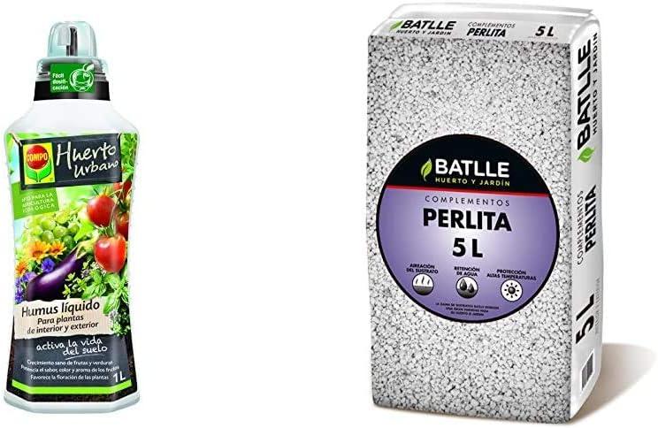 Compo Humus líquido, Crecimiento sano de frutas y verduras, Apto para agricultura ecológica, 1 L + Sustratos - Sustrato Perlita 5L - Batlle