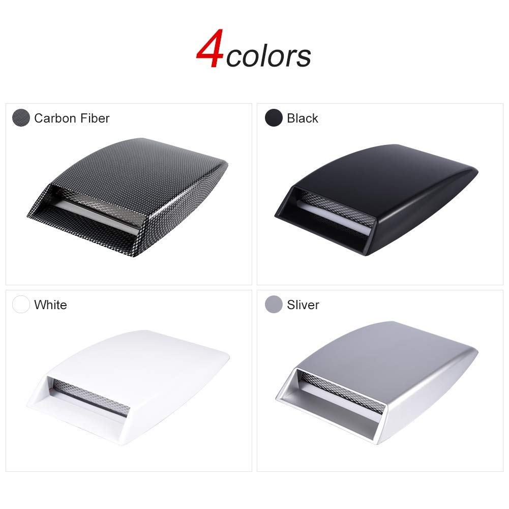 Black Bonnet Vent Cover,Universal Car Decorative Air Flow Intake Scoop Bonnet Vent Sticker Cover Hood Air Outlet Frame Cover
