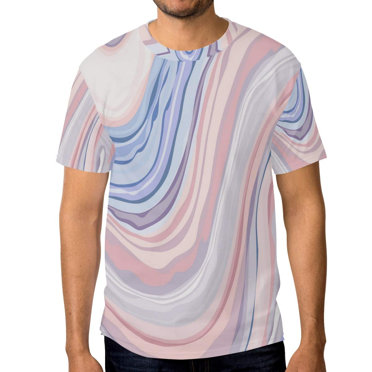 Horatiood Huberyyd Multicolored Marble Pattern Mens T Shirts Graphic Funny Body Print Short T-Shirt Unisex Pullover Blouse