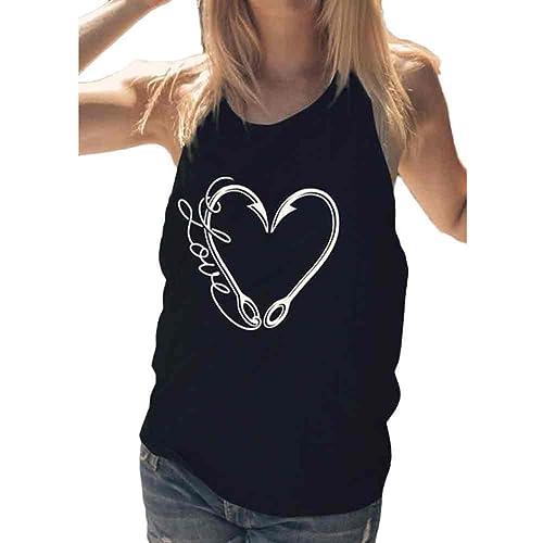 LHWY Corazón De Las Mujeres Forma Tanque Sin Mangas Crop Tops Chaleco Blusa Camiseta
