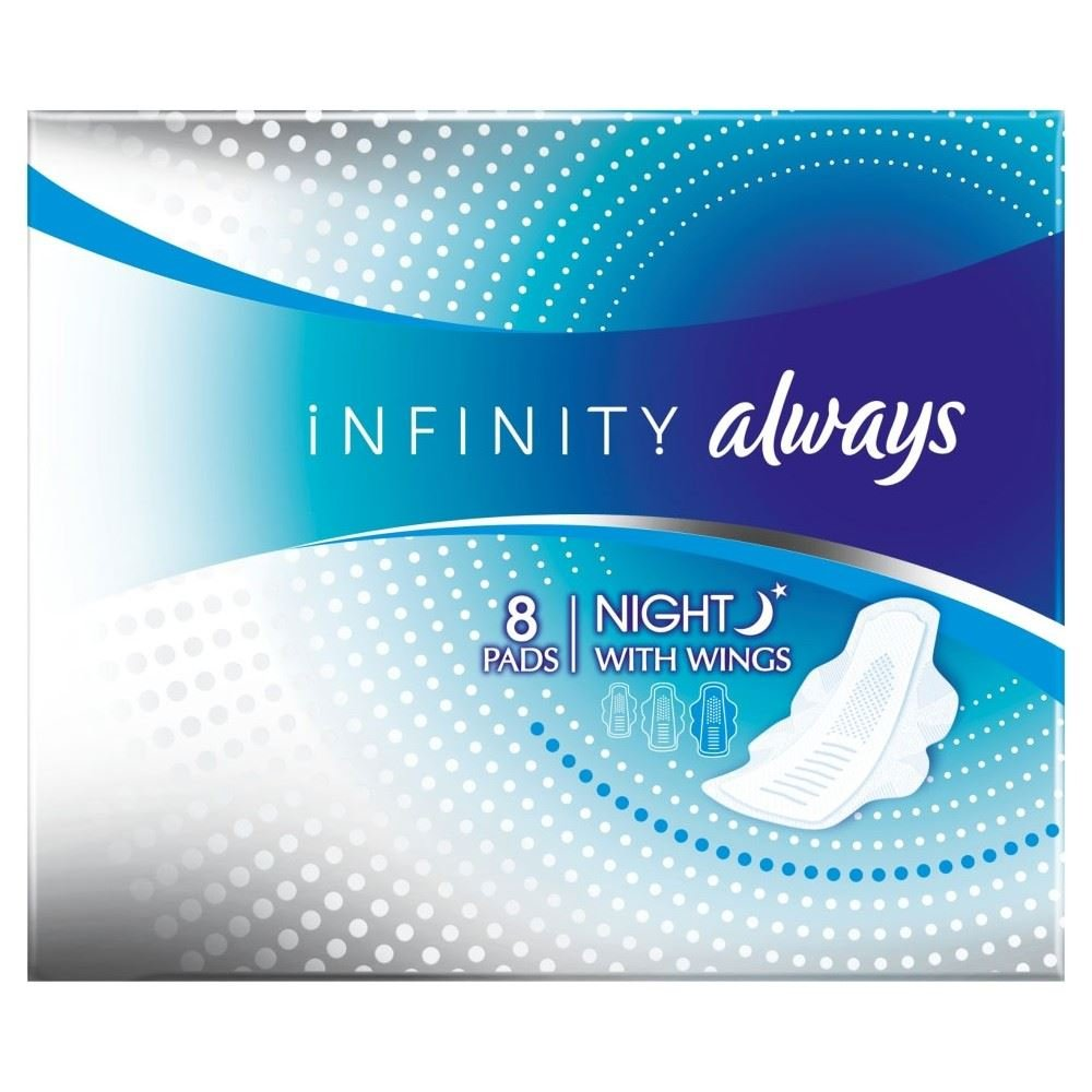 Always Infinity Sanitary Pads Night with Wings (8) - Pack of 6
