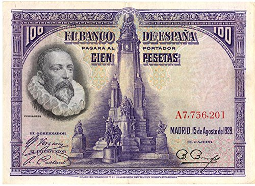1928 ES THE DON QUIXOTE BANKNOTE! 1 OF SPAIN'S LOVELIEST LARGE BANKNOTES! SCARCE SO NICE! 100 PESETAS Choice Crisp AU (Looks Uncirculated)