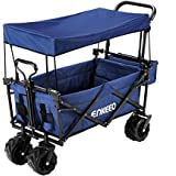 ENKEEO Foldable Utility Wagon Collapsible Sports Outdoor Cart with Removable Canopy, Large Capacity and Tilting Handle for Camping Beach Sporting Events Concerts