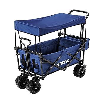 Enkeeo Carretilla Plegable para Camping, Carrito/carro plegable con Toldo de Protección UV,