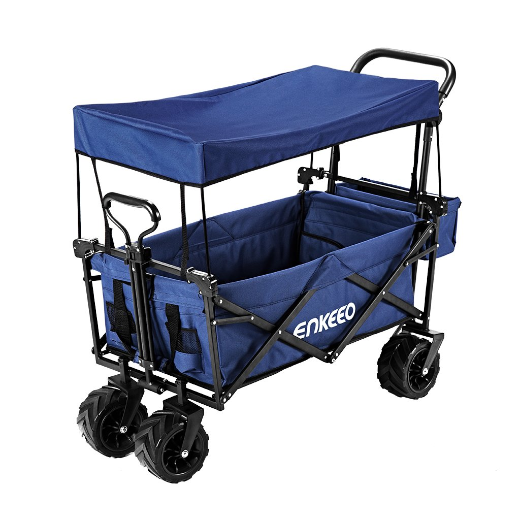 ENKEEO Foldable Utility Wagon Collapsible Sports Outdoor Cart with Removable Canopy, Large Capacity and Tilting Handle for Camping Beach Sporting Events Concerts Shopping (Navy)