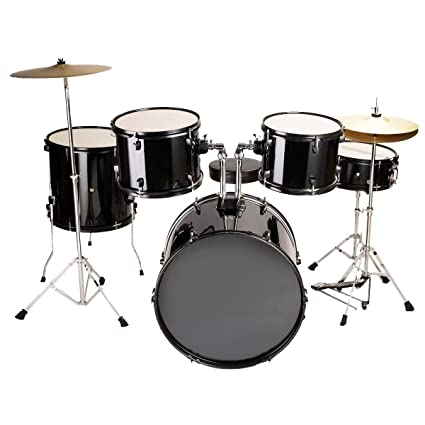 New Black Drum Set 5 PC Complete Adult Cymbals Full Size J05