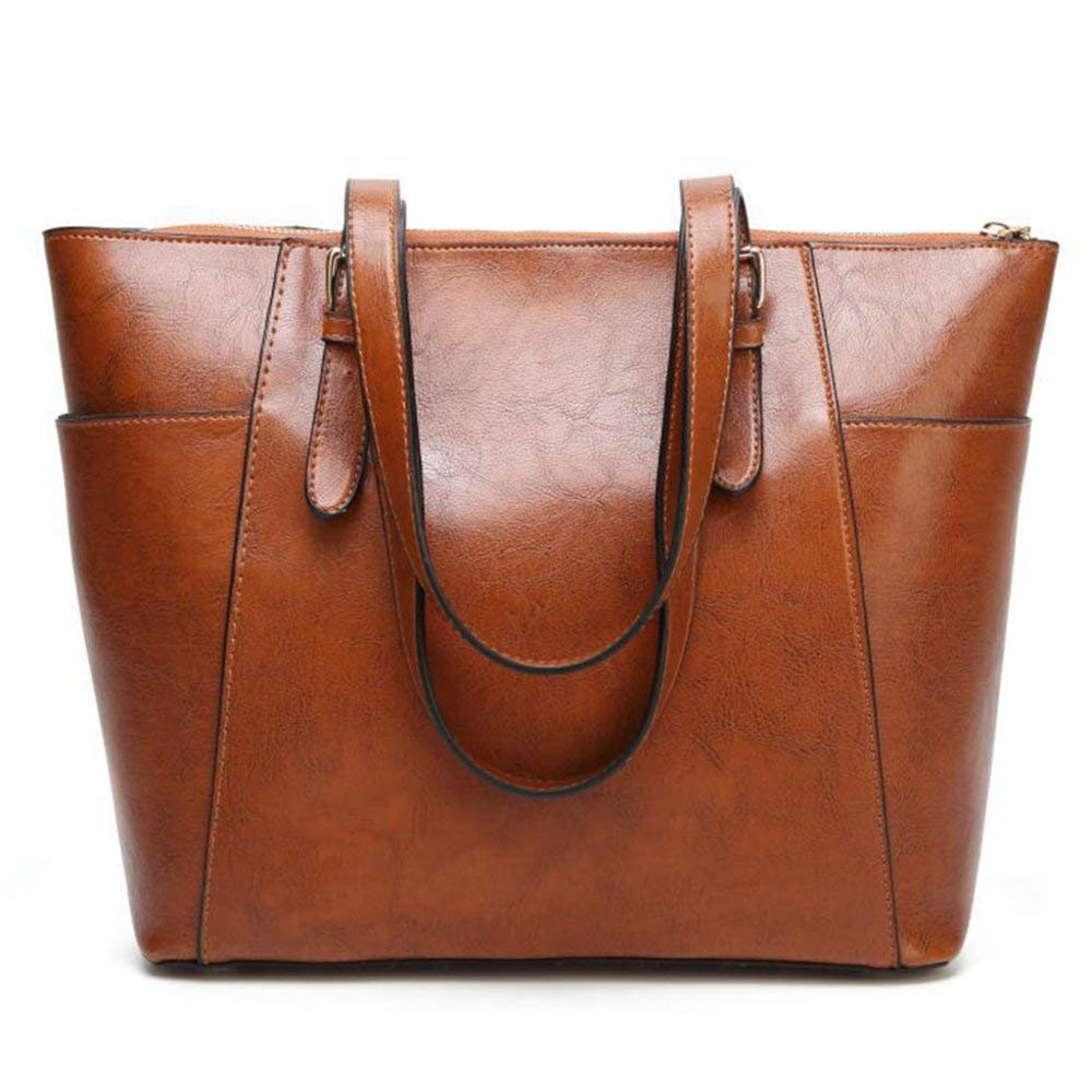 Ladies Handbag Bags Women's Vintage Tote Bag Fashion Shoulder Bag Oil Wax Crossbody Bag Large Capacity Tote Bag (color   Brown, Size   32  13  28cm)