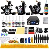 Solong complete tattoo kit for beginner 3 Pro Tattoo Machine Gun Kit 8 Inks Power Supply Foot Pedal Needles Grips Tips TK356