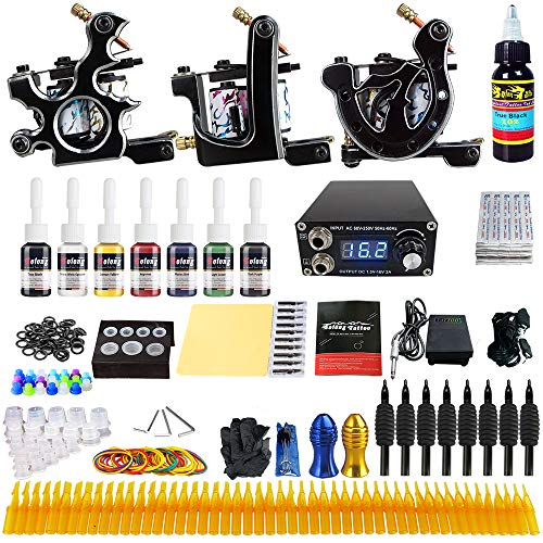 Solong Tattoo Kits 3 Pro Tattoo Machine Guns 5 Inks Power Supply Foot Pedal Needles Grips Tips TK356