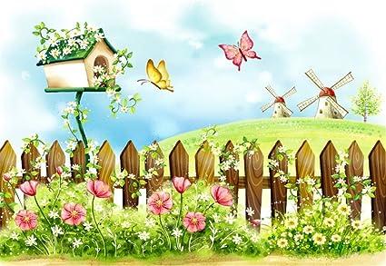 Amazon Laeacco Cartoon Spring Flowers Garden Backdrops 5x3ft