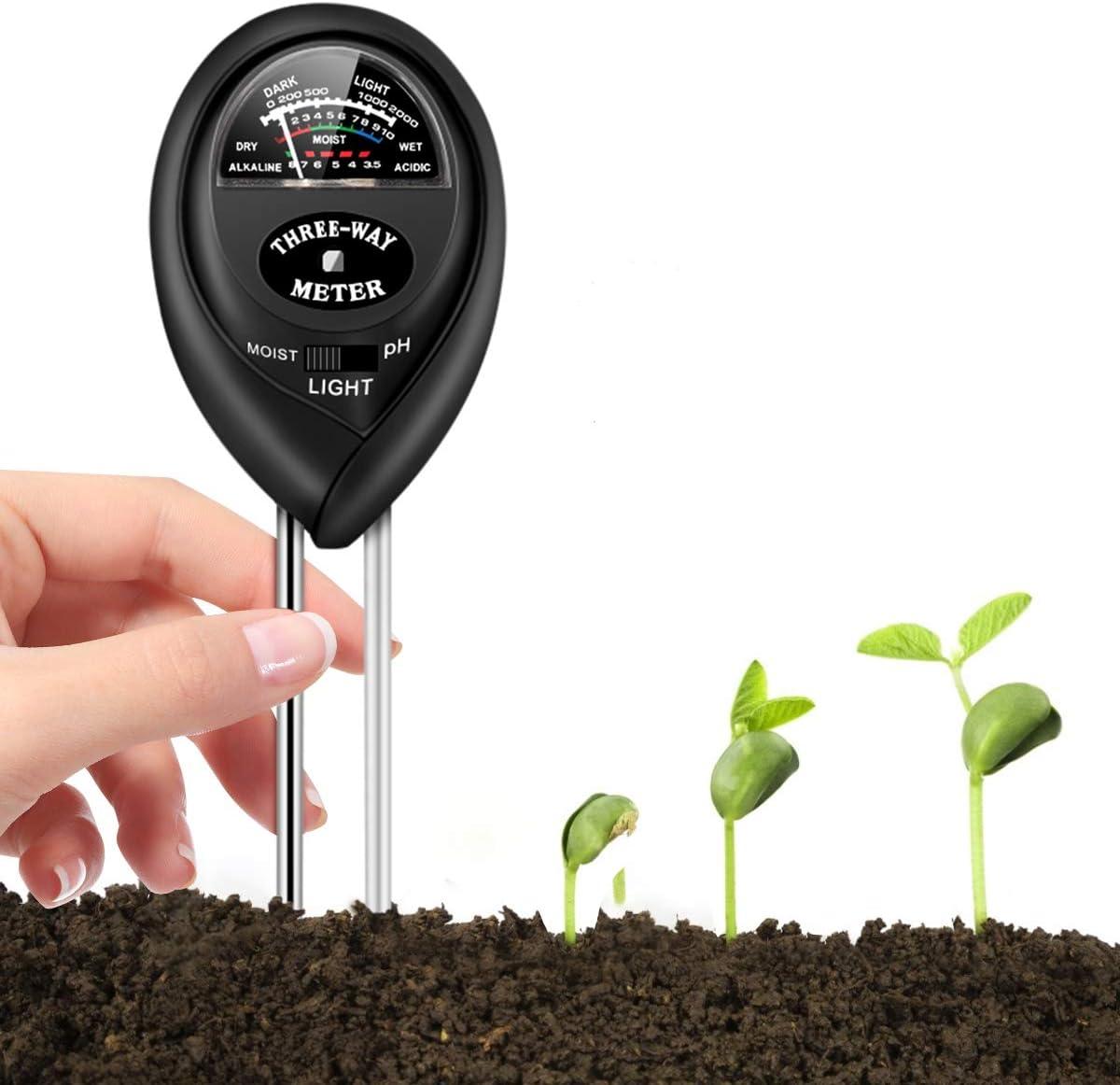 Hiraethore Soil Test Kit, Soil Tester for Moisture, Light & pH Meter for Plant, Vegetables, Garden, Lawn, Farm, Indoor/Outdoor Plant Care Soil Tester