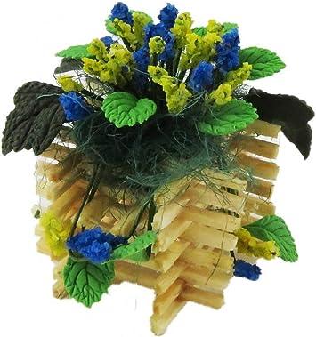Amazon.es: Melody Jane Casa de Muñecas Azul Flor Amarilla Expositor en Madera Maceta Accesorios Jardín: Juguetes y juegos