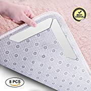 Glitz Star 8 Pack Anti Slip Corners Rug Pad Reusable Washable Stickiness Rug Grippers Eco-friendly Amazing Double Coated Tissue Tape Anti Curling Up for House Floor Carpet Underlayments Cushion