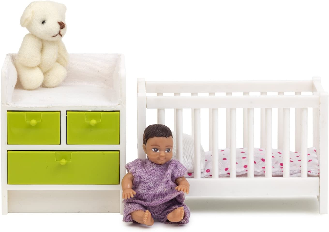 Melody Jane Dollhouse Lundby Nursery Baby Furniture Cot Changing Table Set