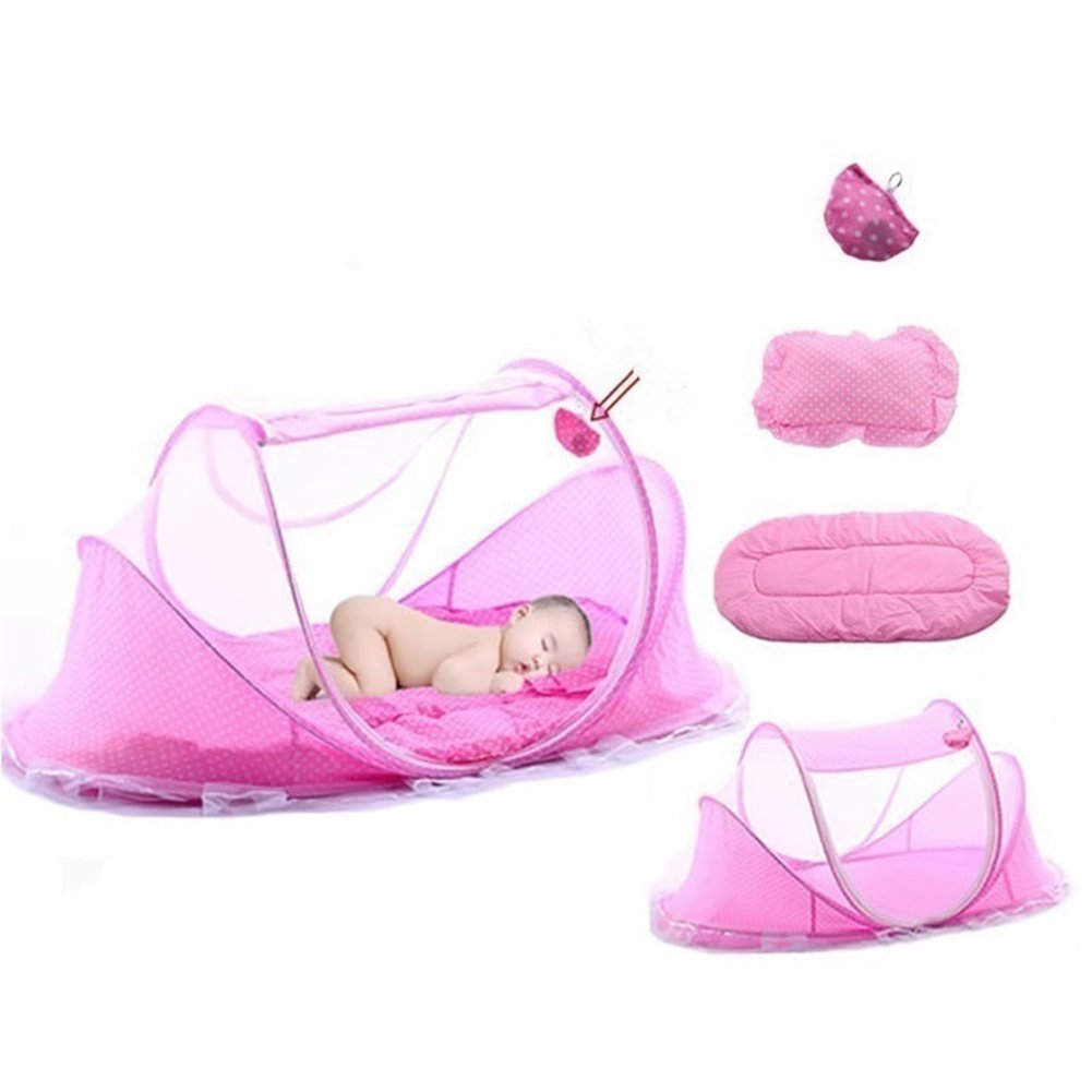 Baby Bed Mosquito Net Bed Canopy Infant Travel Tent Portable Babies Cots Newborn Foldable Crib Folding Todder Mosquito Nets with Mattress Pillow