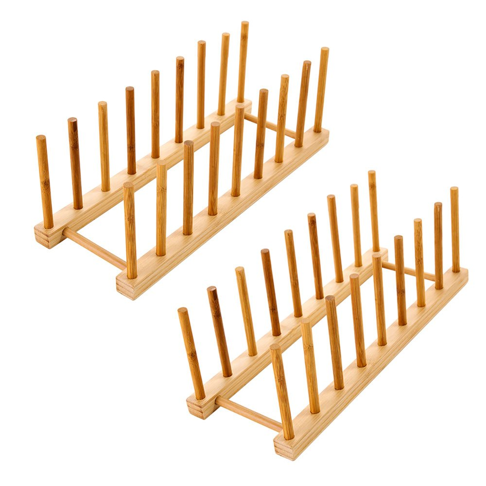 Bamboo Dish Rack or Lid Organizer, for 6 dinner plates OR 6 pot lids, Ideal for not scratching dessert plates, serving dishes, pyrex lids (2pcs-8 slots)