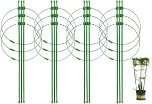 SUCOHANS 4 Pack Plant Support Cages,18in Height Garden Stakes for Plants,with 3 Adjustable Rings,for Tomato Cages and Supports,for Garden Lawn Care and Traction of Vines