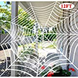Dreampark Halloween Giant Spider Web, Halloween Outdoor Decorations Super Stretch Cobweb with Spider Cotton Yard Decor (12 FT)