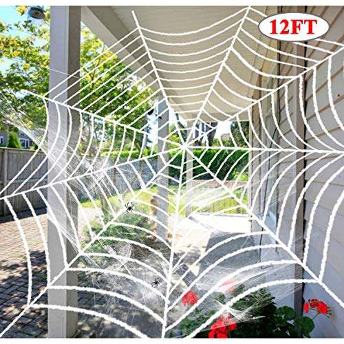 Dreampark Halloween Giant Spider Web, Halloween Outdoor Decorations Super Stretch Cobweb with Spider Cotton Yard Decor (12 FT)]()