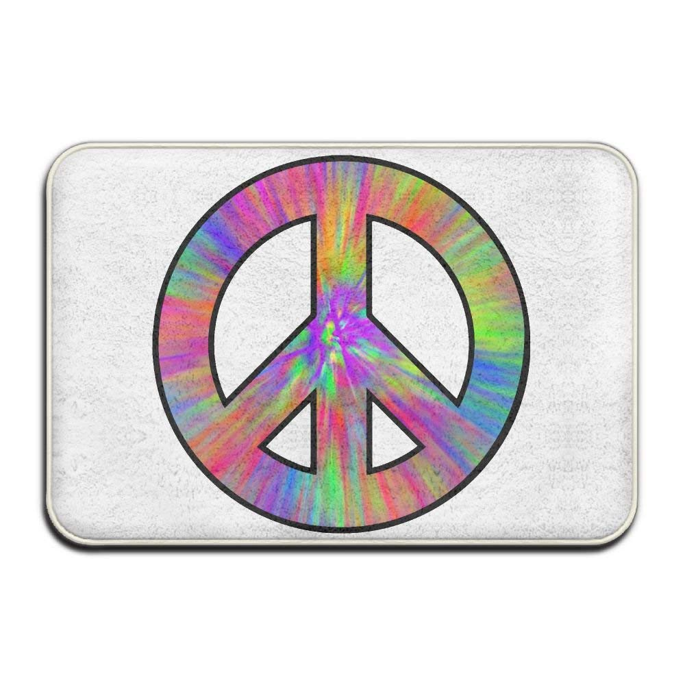 Highest Quality Materials Bath Mat Tie Dye Peace Sign Washable Bath Mats by pirdusew