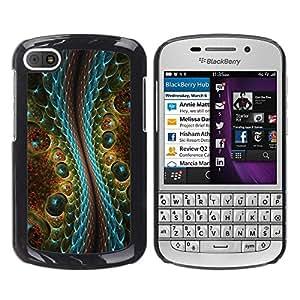 TECHCASE**Cubierta de la caja de protección la piel dura para el ** BlackBerry Q10 ** Magic Art Reptile Crocodile Alien Design