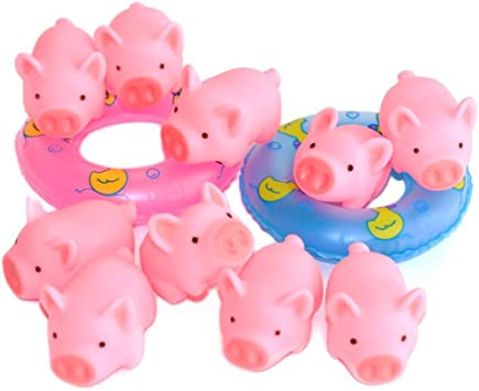 20PCS BB Rubber Pink Pig Squeaky VGOODALL 25PCS Rubber Pig Baby Bath Toy Set