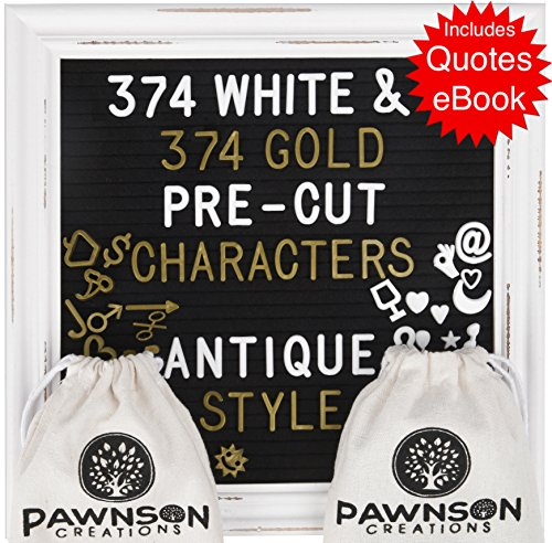 - Felt Letter Board with Stand – Word Message Board – 10x10 DIY Farmhouse Changeable Letter Board for Women | Baby – Black Felt - Rustic White Wooden Antique Frame – 748 White and Gold Pre-Cut Letters