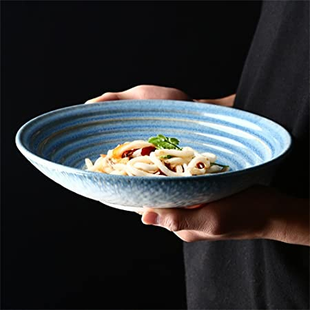 AHAI YU Ensalada de cerámica Grande Corrugado 3D Sopa Ramen Pasta ...
