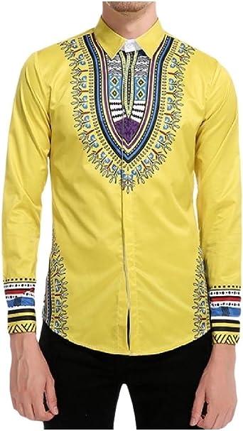 ANDYOU-Men Camisa de polo cuello de la moda de Dashiki africana tapas florales para Hombres Amarillo Medio: Amazon.es: Ropa y accesorios