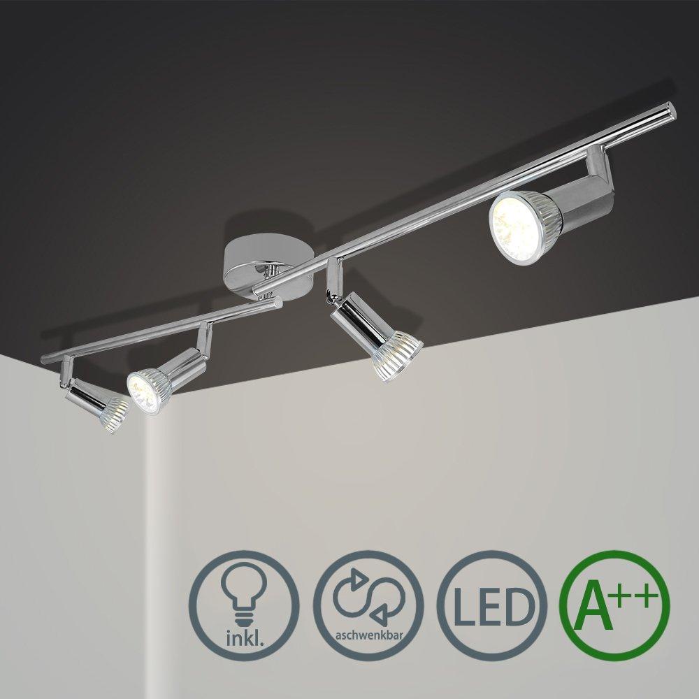 VINGO Barras de focos Gu10 4w Proyector de techo plafon Foco direccional con 4 bombillas para