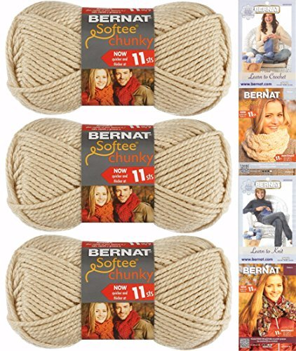 Bernat Softee Chunky Yarn Bundle Super Bulky #6, 3 Skeins Linen - Knitting Chunky Free Yarn Patterns