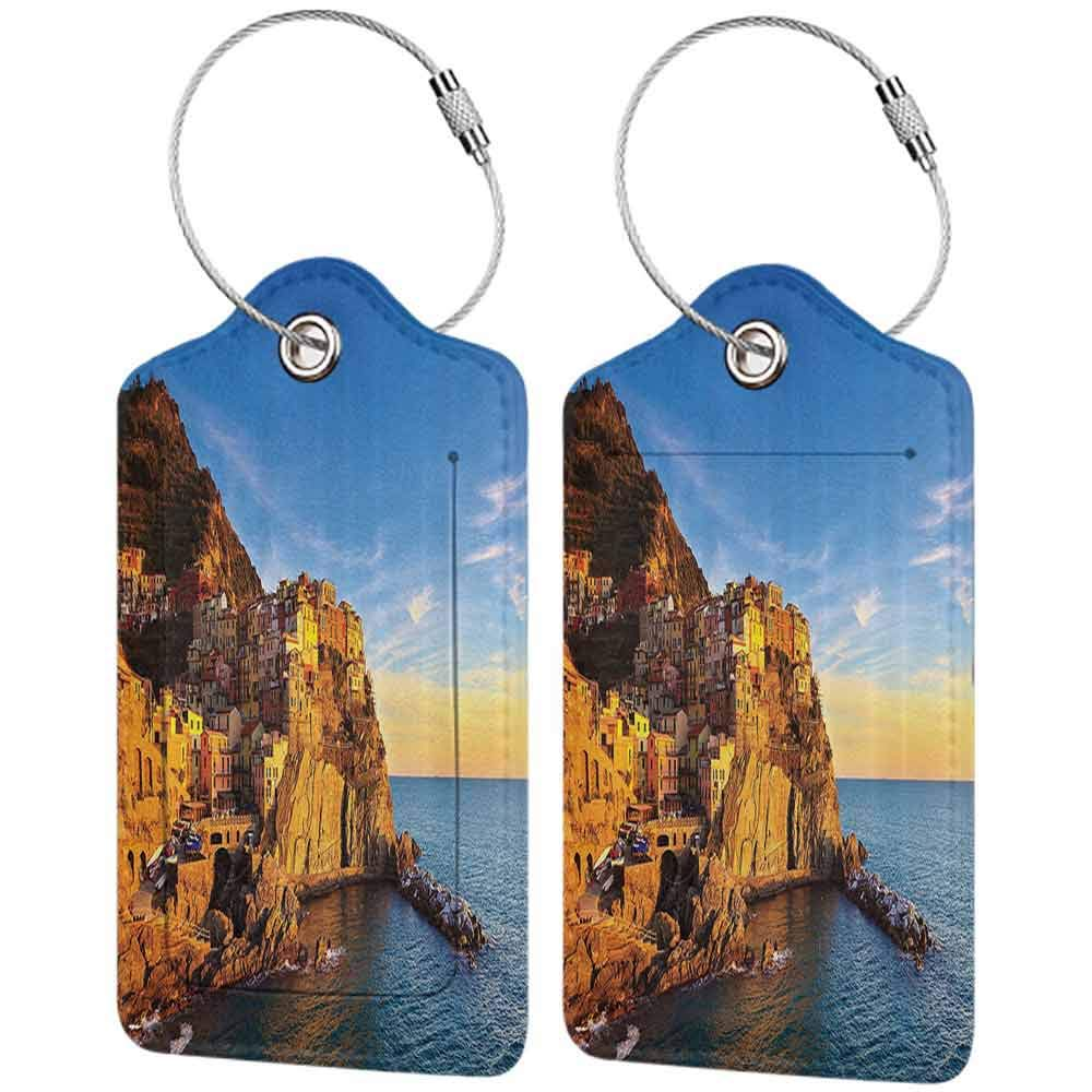 Multicolor luggage tag Scenery House Decor Italian Mediterranean Village on Cliffs in Five Lands Seascape Panorama Hanging on the suitcase Blue Cream W2.7 x L4.6