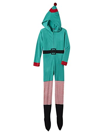 46be02b994b7 Joe Boxer Womens Green Fleece Elf Holiday Blanket Sleeper Footie ...