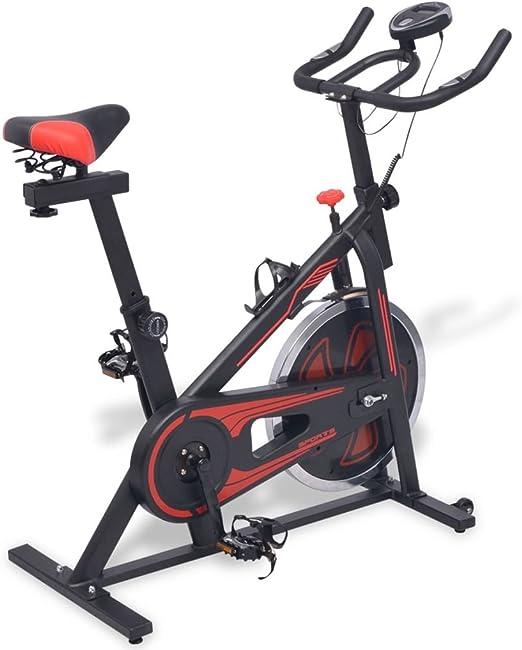 vidaXL Bicicleta de Spinning con Sensores de Pulso Negra y Roja 97x46x108 cm: Amazon.es: Deportes y aire libre