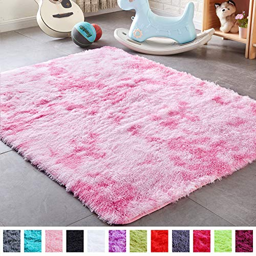 PAGISOFE Shaggy Colored Fluffy Area Rugs Carpets for Baby Nursery Teens Girls Rooms 4x5.3 Feet Plush Fuzzy Patterned Shag Rugs for Kids Bedrooms Home Room Floor Accent Decor Fur Rug (Pink and White) (Best Decorated Dorm Rooms)