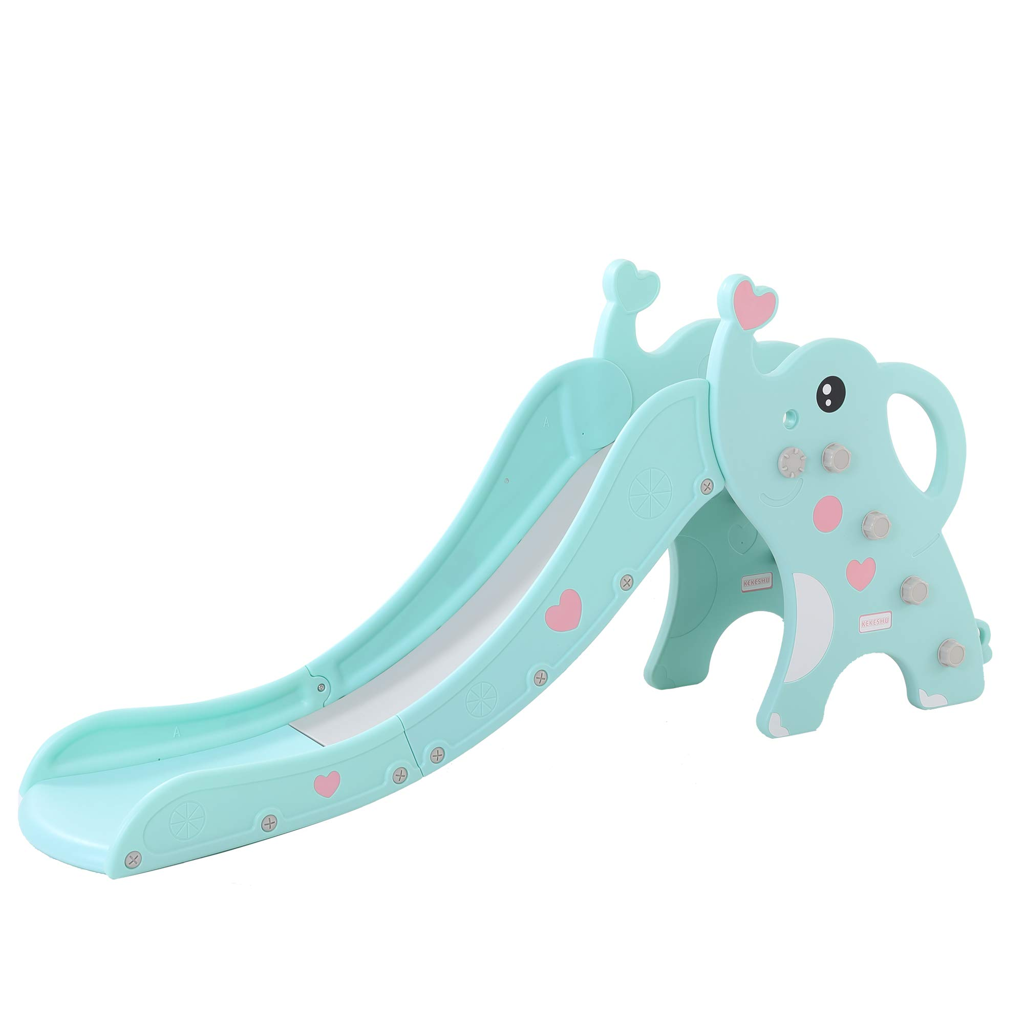WenStorm Slide for Boys Girls Indoor Outdoor Backyard Use First Slide Playground Plastic Play Slide Climber with Basketball Hoop Elephant Sky Blue