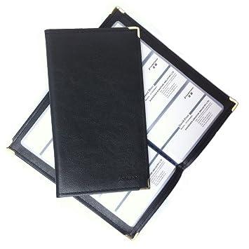 Kingfom Leder Visitenkarten Mappe Für 120 240 300 Karten Schwarz 120 Karten