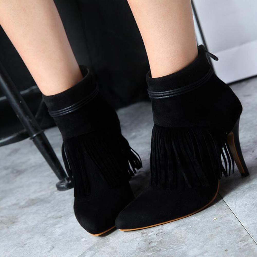 CITW Herbstliche Weibliche Heel Stiefel Tassel Mit High Heel Weibliche Und Big Größe Weibliche Stiefel Feine Ferse Kurze Stiefel Warme Stiefel,schwarz,UK2 EUR36 db929d