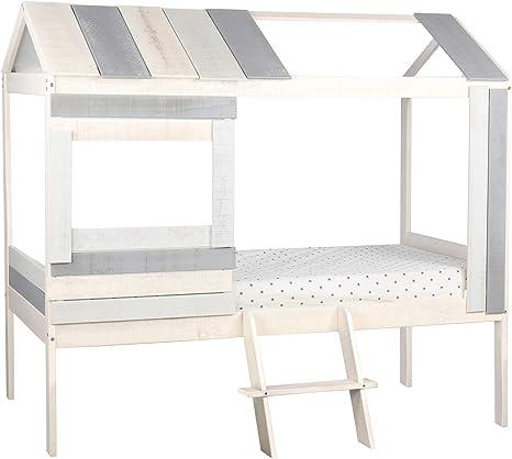 Homestyle4u 1970 Holz Kiefer Kinderbett Mit Lattenrost Hausbett 80x160 Grau
