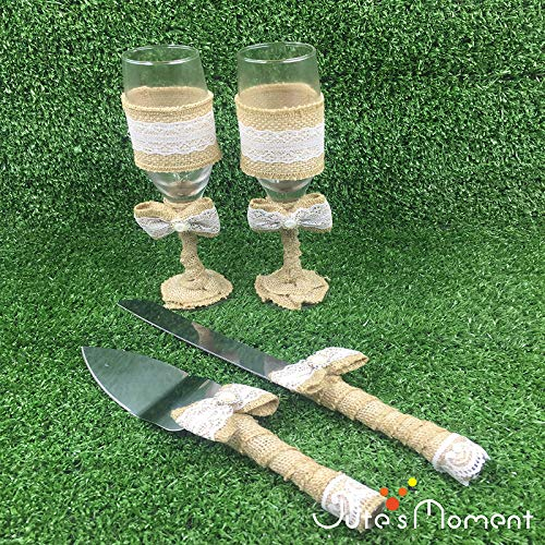 Miss.AJ 4-Piece Wedding Supplies - Cake Knife, Pie Server Set and Wedding Champagne Glasses Set, 2 Toasting Champagne Flutes, 1 Pie Server and 1 Cutting Knife, Rustic Bride Groom Gifts