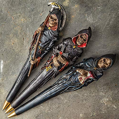 (K EXCLUSIVE Grim Reaper Three-Piece Ball Point Pen Set - Crafted of Polyresin, Intricate Painted Detail, Three Different Designs - Length 6