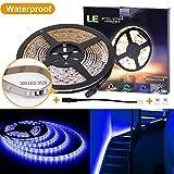 LE 16.4ft 12V Flexible LED Strip Lights, Blue, Waterproof IP65, 300 Units 3528 LEDs, LED Tape, Light Strips, Pack of 16.4ft/5m